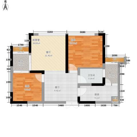 中渝山顶道壹号2室0厅1卫1厨60.00㎡户型图