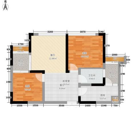 中渝山顶道壹号2室0厅1卫1厨81.00㎡户型图