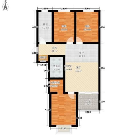 紫御华府3室0厅1卫1厨116.00㎡户型图