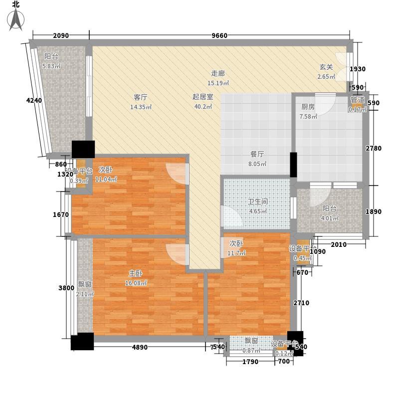 锦东花园115.00㎡B15座标准层03单元3室户型