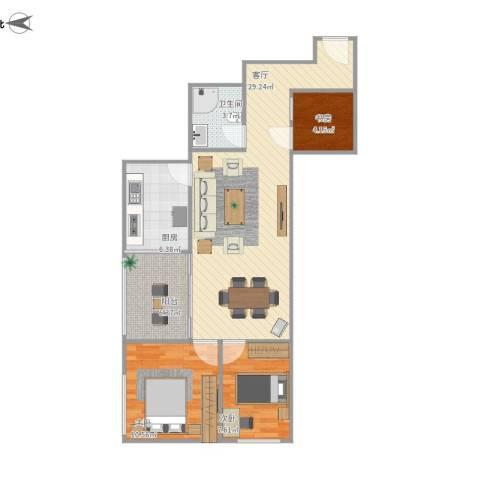 华天国际广场3室1厅1卫1厨92.00㎡户型图