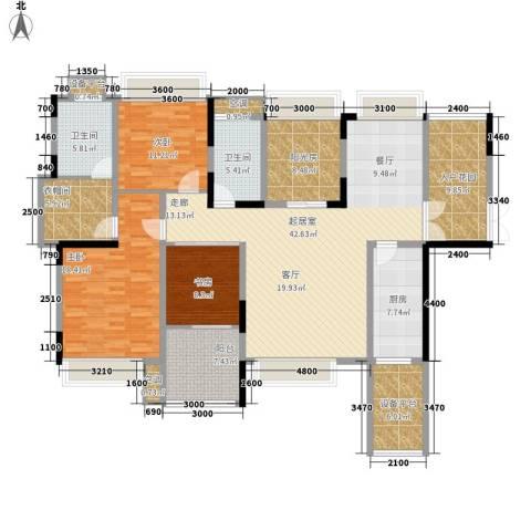 中铁逸都国际3室0厅2卫1厨170.00㎡户型图