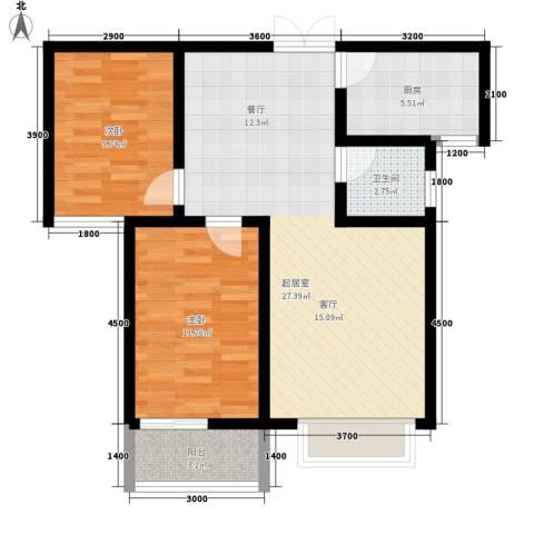 紫御华府2室0厅1卫1厨88.00㎡户型图