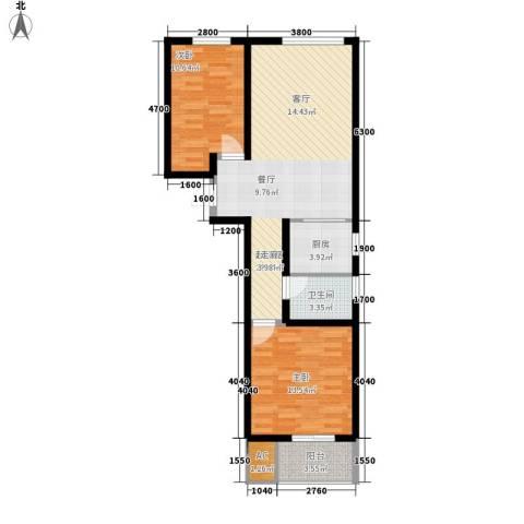 紫御华府2室0厅1卫1厨92.00㎡户型图
