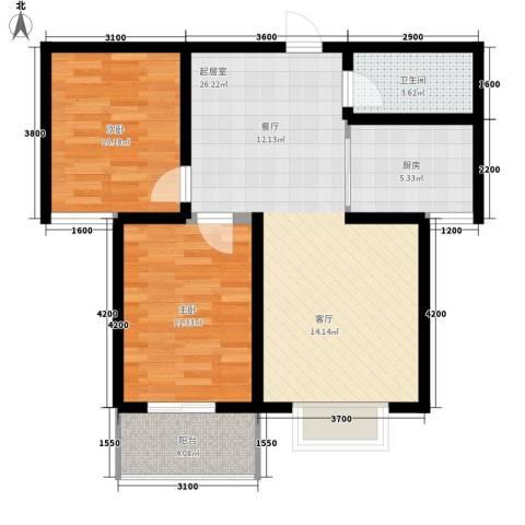 紫御华府2室0厅1卫1厨87.00㎡户型图