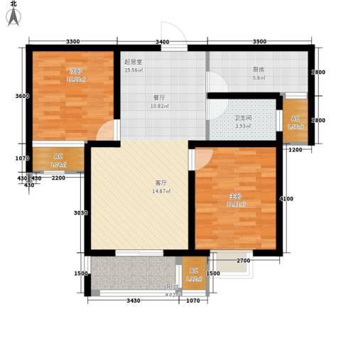 紫御华府2室0厅1卫1厨96.00㎡户型图