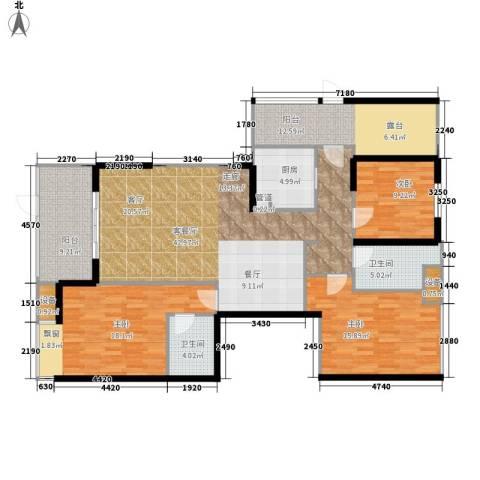 利通城南晶座3室1厅2卫1厨141.00㎡户型图