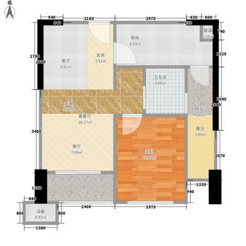 利通城南晶座1室1厅1卫1厨57.00㎡户型图