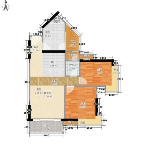 尚东峰景2室1厅1卫1厨78.00㎡户型图