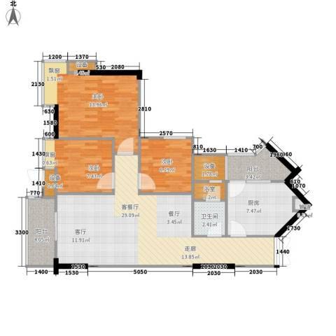 尚东峰景3室1厅1卫1厨85.00㎡户型图