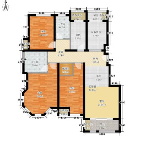 保利西塘越3室0厅2卫1厨131.00㎡户型图