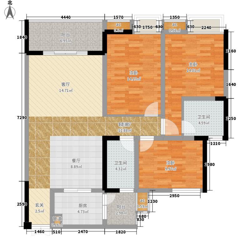 庆业九寨印象108.87㎡二期7号楼标准层E户型