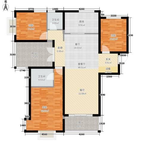 中国铁建领秀城3室1厅2卫1厨150.00㎡户型图