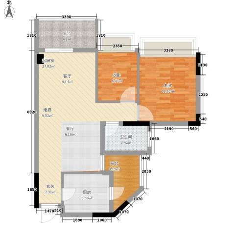 丽江花园康城居2室0厅1卫1厨72.00㎡户型图