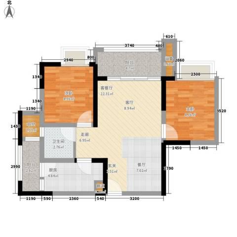 融创御锦2室1厅1卫1厨63.00㎡户型图