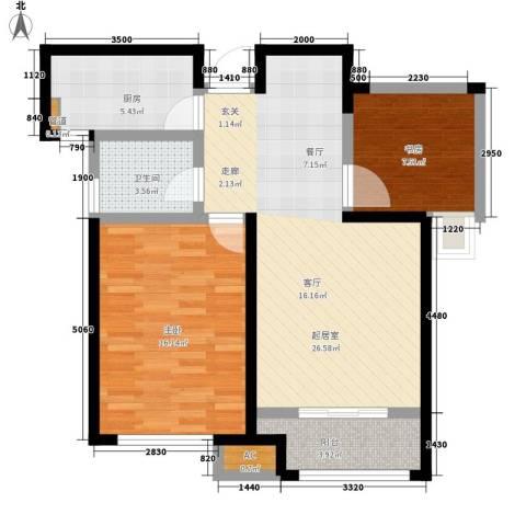 国耀上河城2室0厅1卫1厨91.00㎡户型图