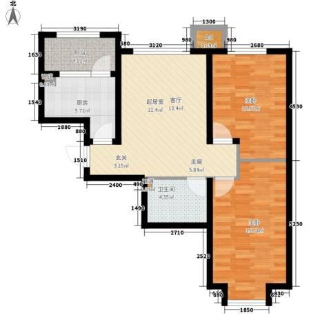泰达星海湾2室0厅1卫1厨82.00㎡户型图