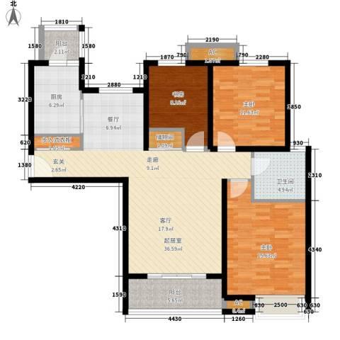 湖山新意3室0厅1卫1厨110.00㎡户型图