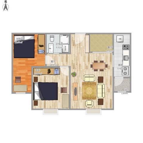 紫金新干线二期2室2厅1卫1厨83.00㎡户型图