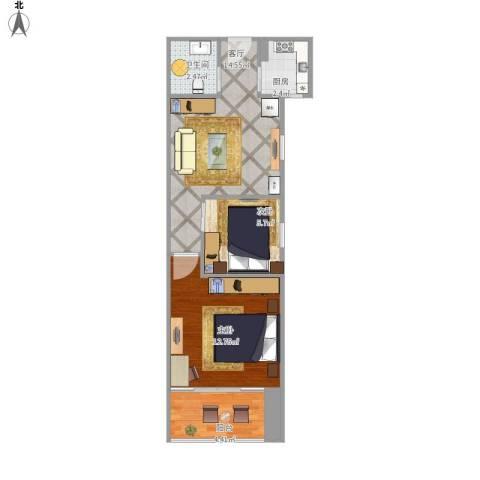 都市春天2室1厅1卫1厨59.00㎡户型图