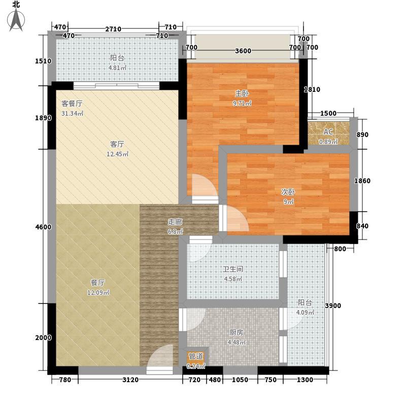 隆鑫国际73.08㎡二期6栋4号房面积7308m户型