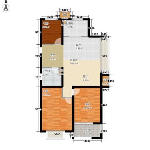 明月湾3室1厅1卫1厨100.00㎡户型图