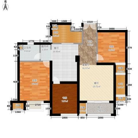 明月湾3室1厅1卫1厨89.00㎡户型图