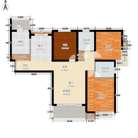 湖山新意3室0厅2卫1厨122.00㎡户型图