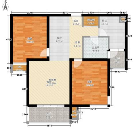湖山新意2室0厅1卫1厨92.00㎡户型图