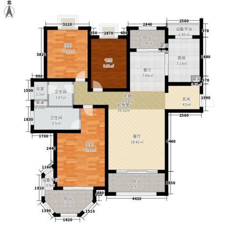 澜调国际3室0厅2卫1厨134.00㎡户型图