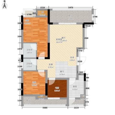 万鼎雅筑3室0厅2卫1厨107.00㎡户型图