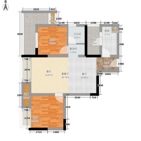 盛世明珠2室1厅1卫1厨66.00㎡户型图