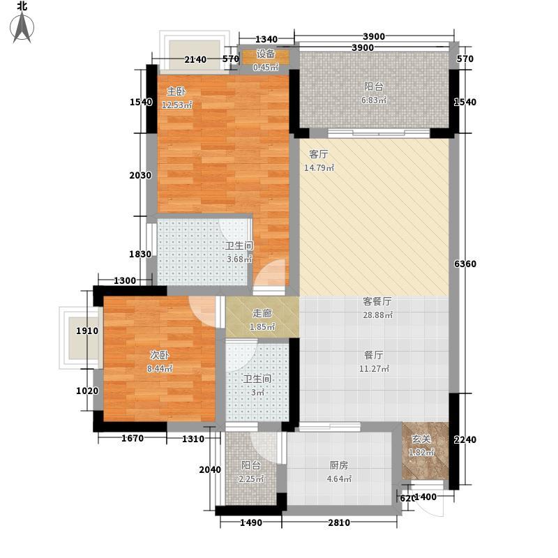 金鞍香海驿76.11㎡3号楼2、3号房面积7611m户型