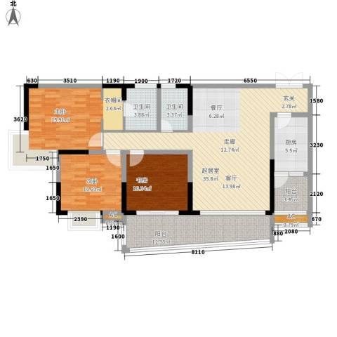瀚恩五大道3室0厅2卫1厨118.07㎡户型图