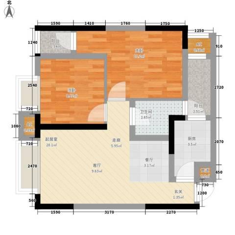 瀚恩五大道2室0厅1卫1厨60.57㎡户型图