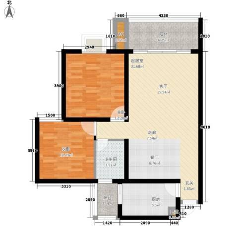 宝桐紫花园2室0厅1卫1厨105.00㎡户型图