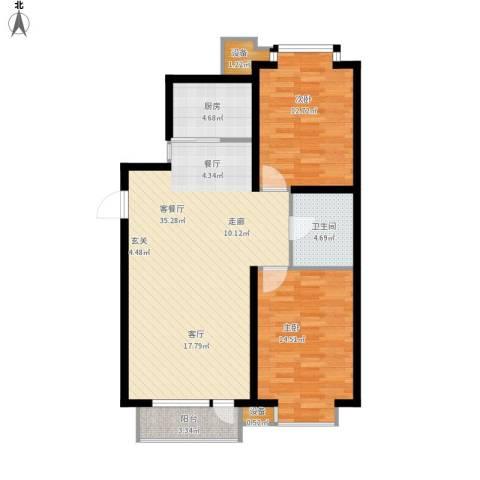 丰远・玫瑰城尚品2室1厅1卫1厨108.00㎡户型图