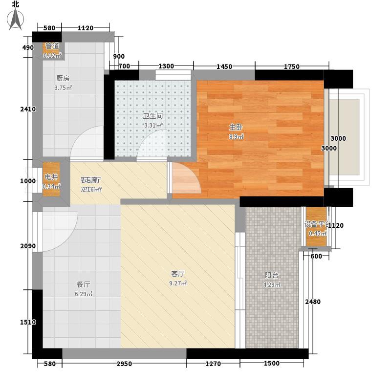 金辉苹果城41.51㎡9号楼A1面积4151m户型