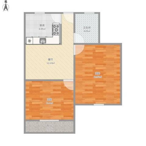 剑川路150弄小区2室1厅1卫1厨71.00㎡户型图