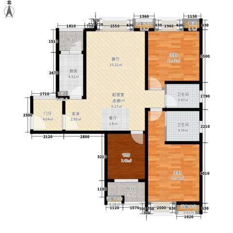 时代庐山3室0厅2卫1厨126.00㎡户型图