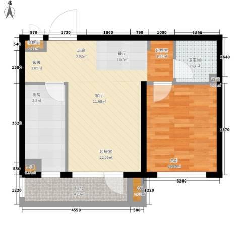 御景城1室0厅1卫1厨58.00㎡户型图