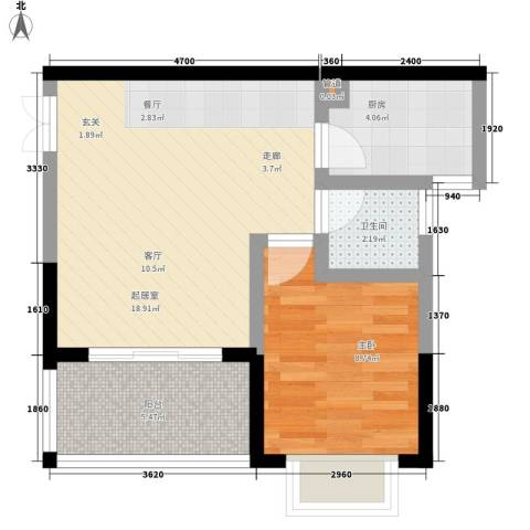 曼哈顿广场1室0厅1卫1厨46.00㎡户型图