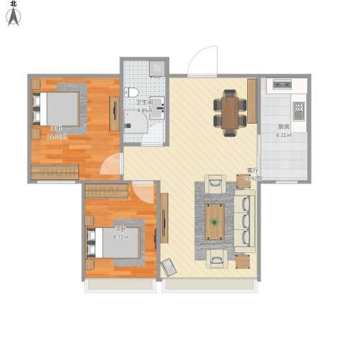 紫金江尚2室1厅1卫1厨77.00㎡户型图