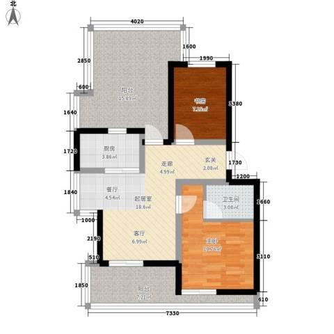 奥林匹克花园2室0厅1卫1厨78.00㎡户型图