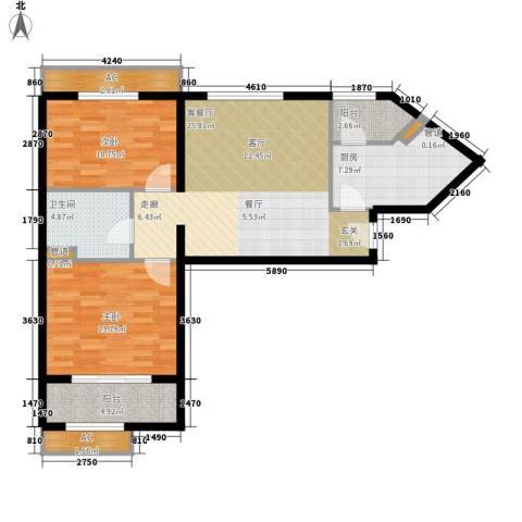 碧玉家园一期2室1厅1卫1厨107.00㎡户型图