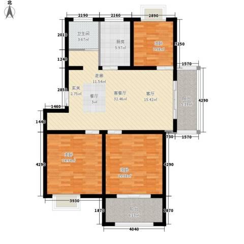 锦绣江南花园3室1厅1卫1厨131.00㎡户型图