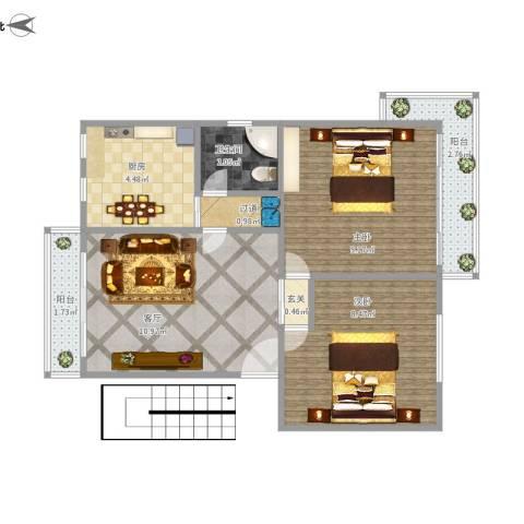 莲坂西小区2室1厅1卫1厨57.00㎡户型图