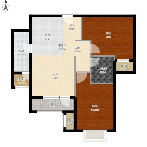 海亮公馆2室1厅1卫1厨112.00㎡户型图