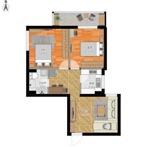 小关东里10号院9号楼2室1厅1卫1厨76.00㎡户型图