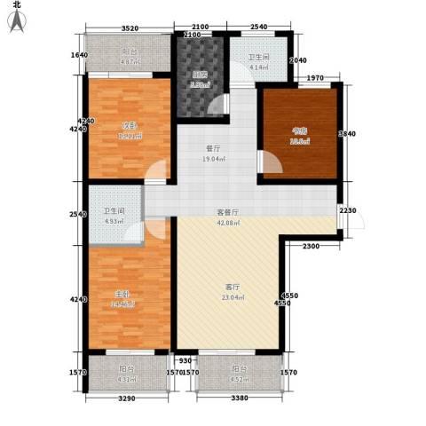 水木清华3室1厅2卫1厨124.12㎡户型图